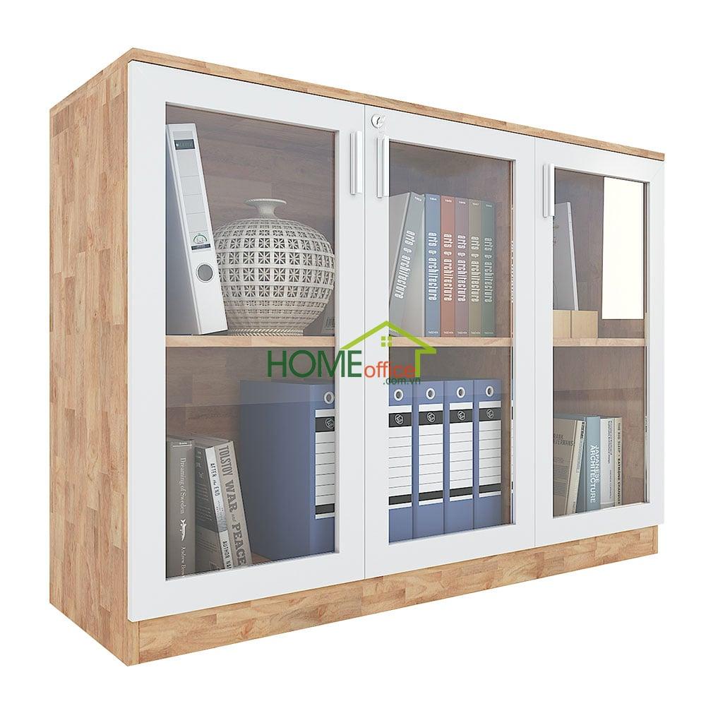 tủ hồ sơ cao 2 tầng gỗ cao su