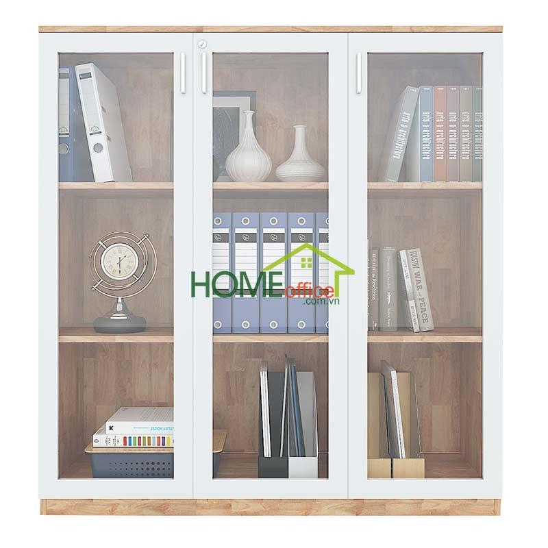 Tủ hồ sơ gỗ cao su tiêu chuẩn AA cửa kính kéo