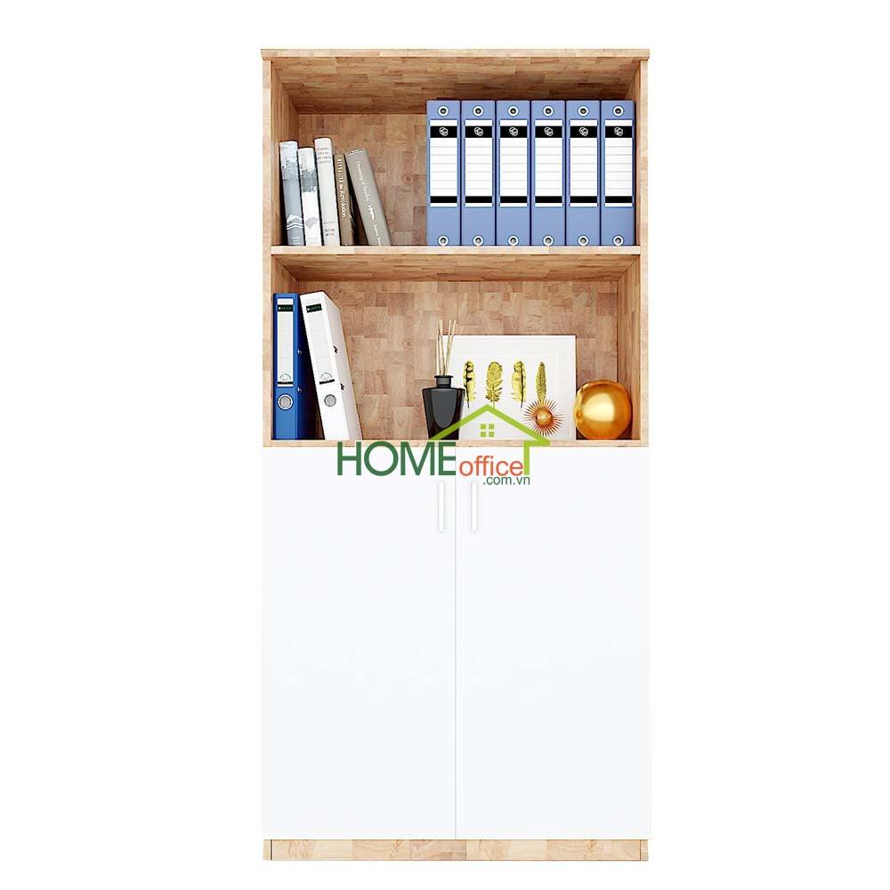 Tủ hồ sơ cao gỗ cao su 2 tầng mở kết hợp 2 tầng cửa kéo