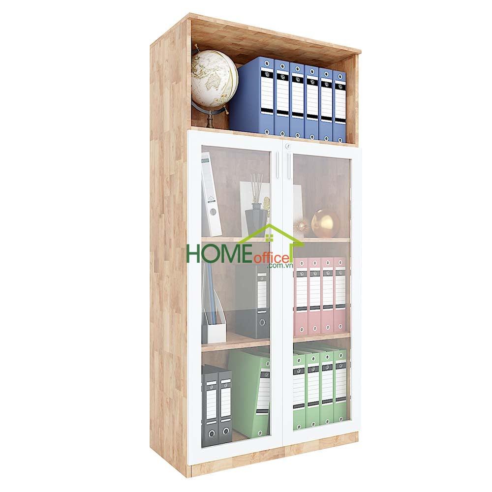 Tủ hồ sơ cao gỗ cao su 1 tầng mở kết hợp 3 tầng cửa kéo