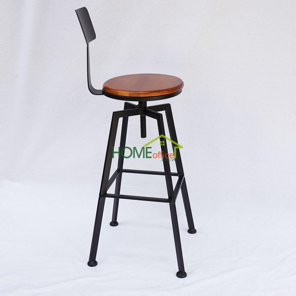 Ghế bar có tựa lưng chân sắt