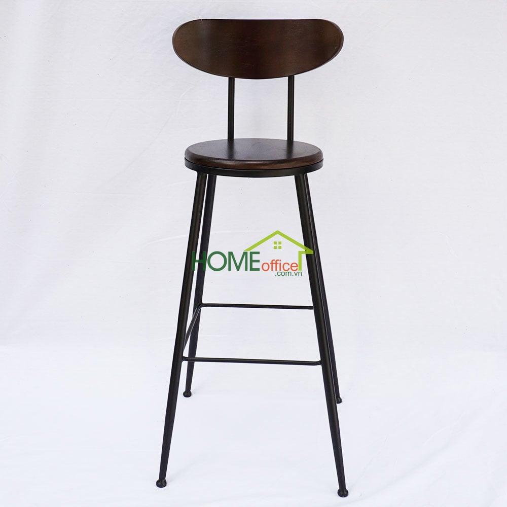 Ghế bar có tựa lưng mặt gỗ khung chân sắt