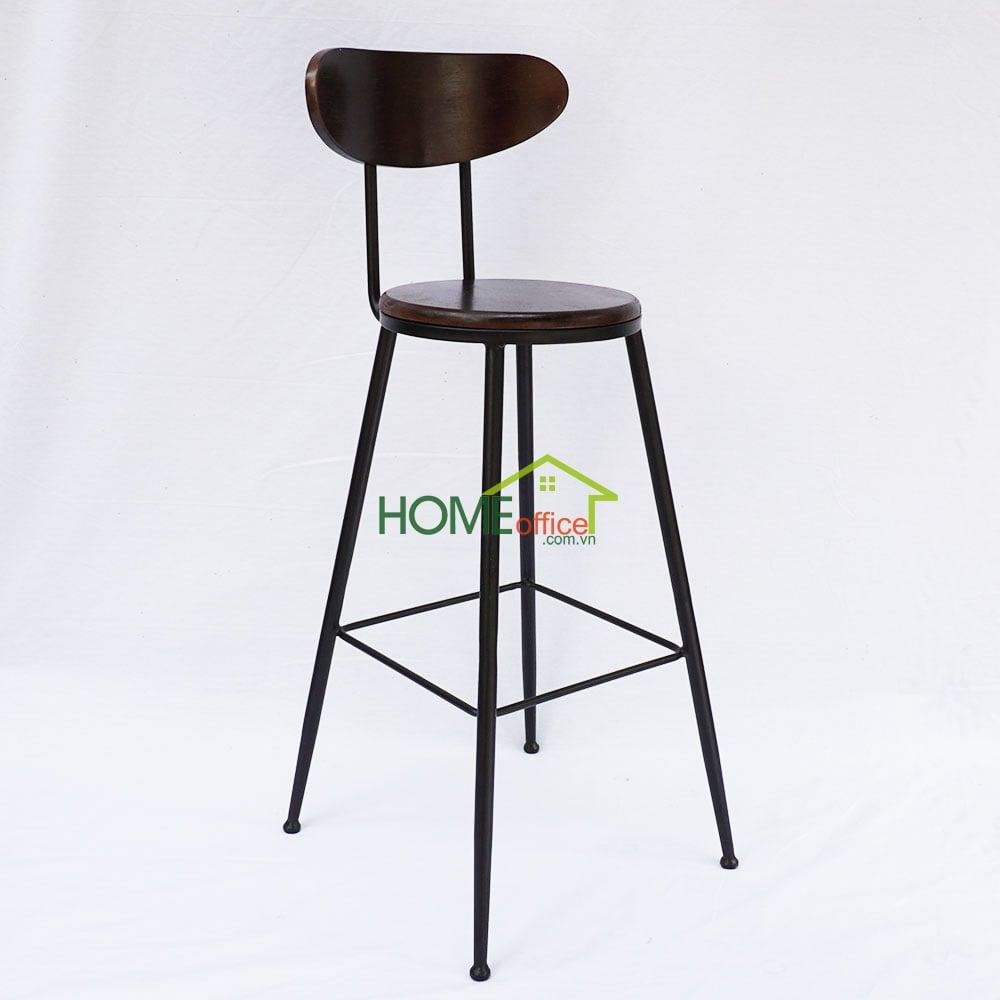 Ghế bar mặt gỗ khung chân sắt