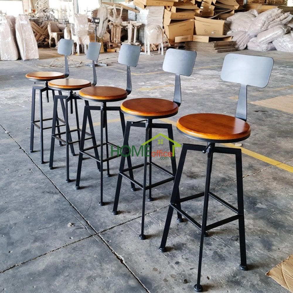 Ghế bar nâng hạ chiều cao có lưng