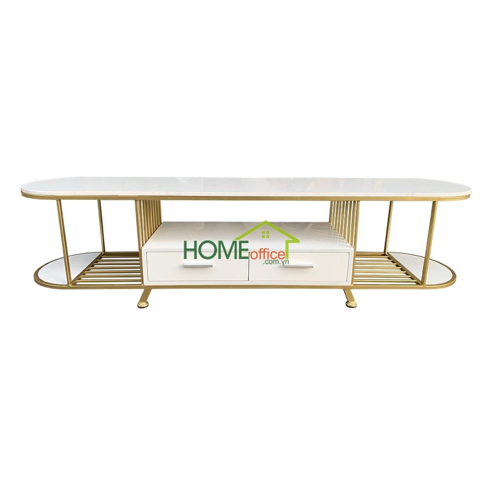 bàn Sofa mặt đá trắng khung màu vàng đồng