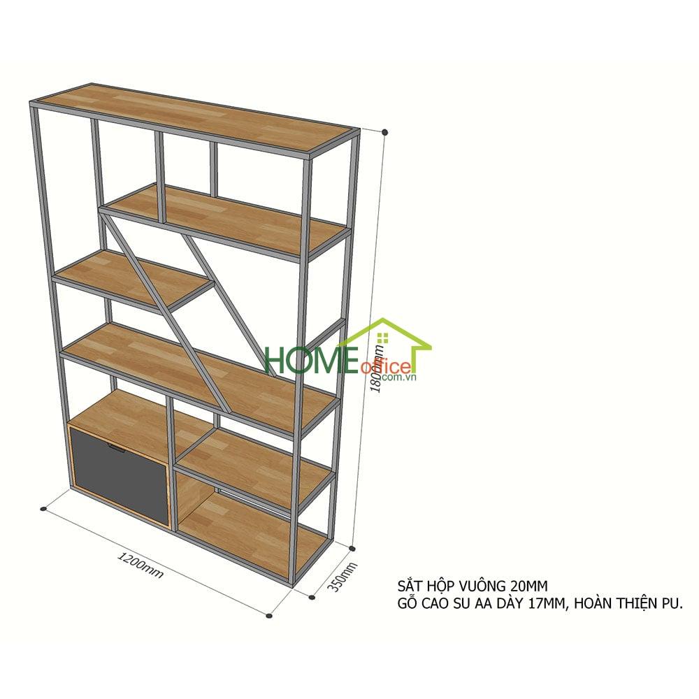 Kích thước Kệ trang trí gỗ cao su khung sắt