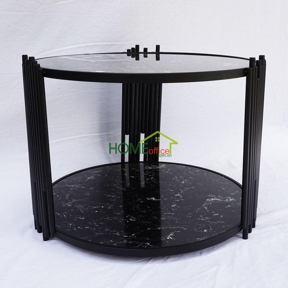 Bàn sofa 2 tầngmặt đá đen khung sắt sơn tĩnh điện