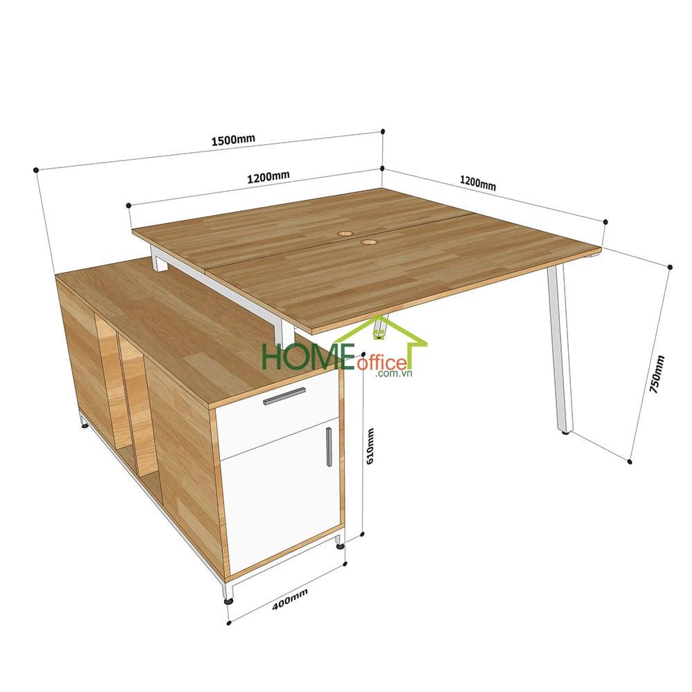 Kích thước bàn cụm 2 gác tủ