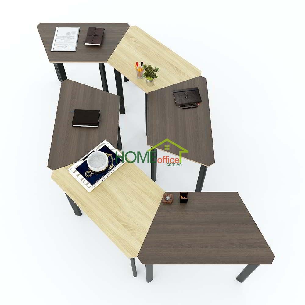 Bàn cụm 6 ghép từ bàn hình thang gỗ Plywood