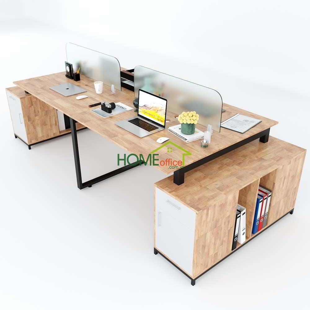 bàn cụm 4 chân tủ gỗ cao su chân sắt