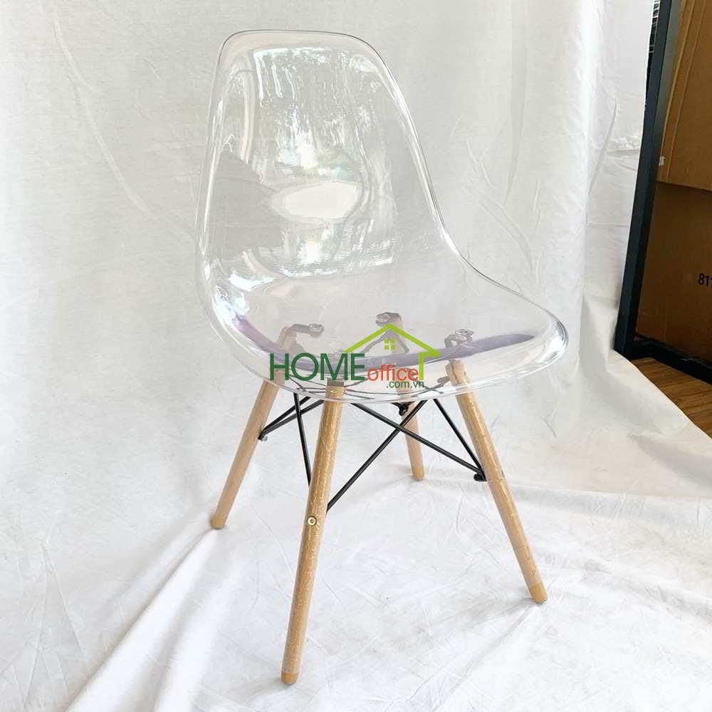 Ghế nhựa trong suốt chân gỗ