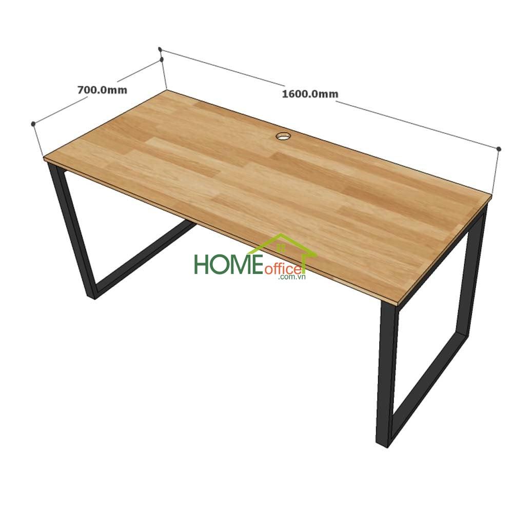 bàn làm việc gỗ cao su chân sắt lắp ráp