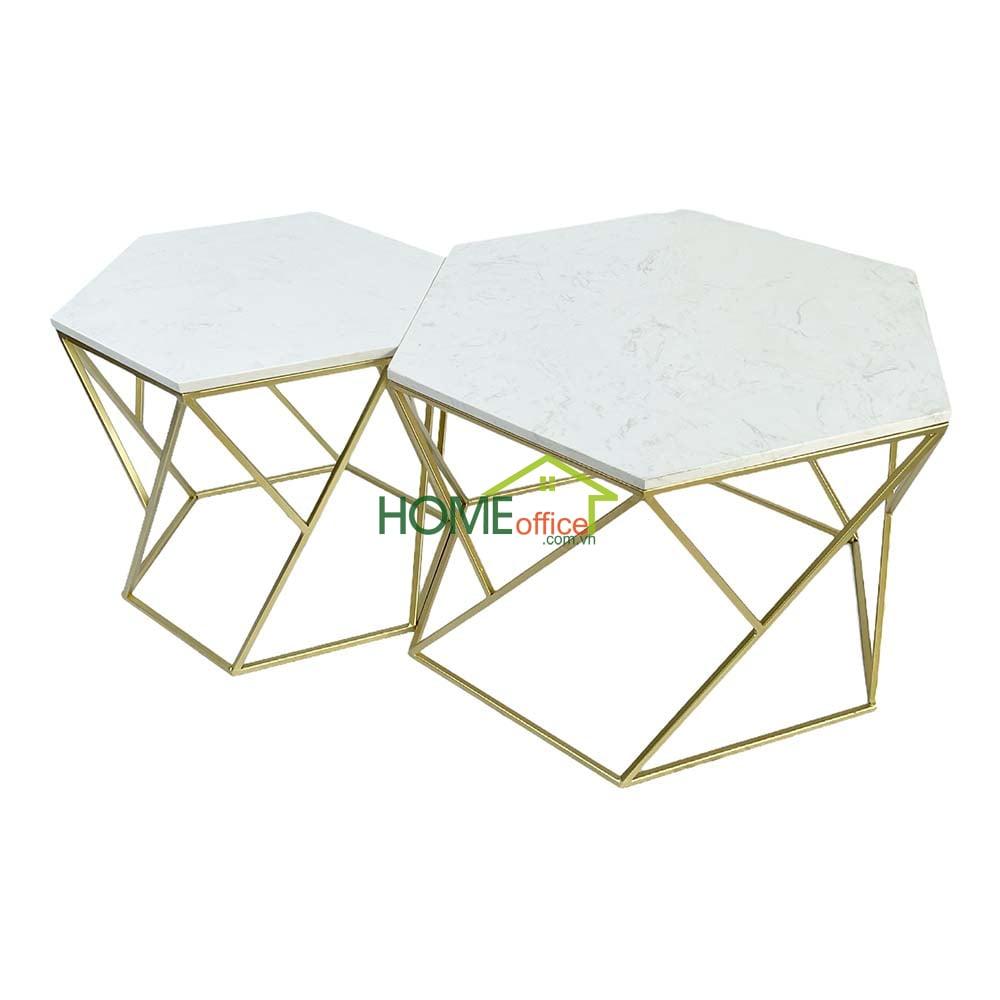 Bàn sofa 2 tầng mặt đá trắng khung sắt màu vàng đồng