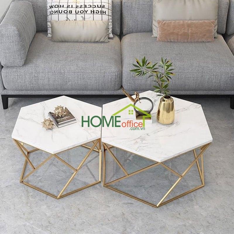 bàn sofa mặt đá khung sắt màu đồng