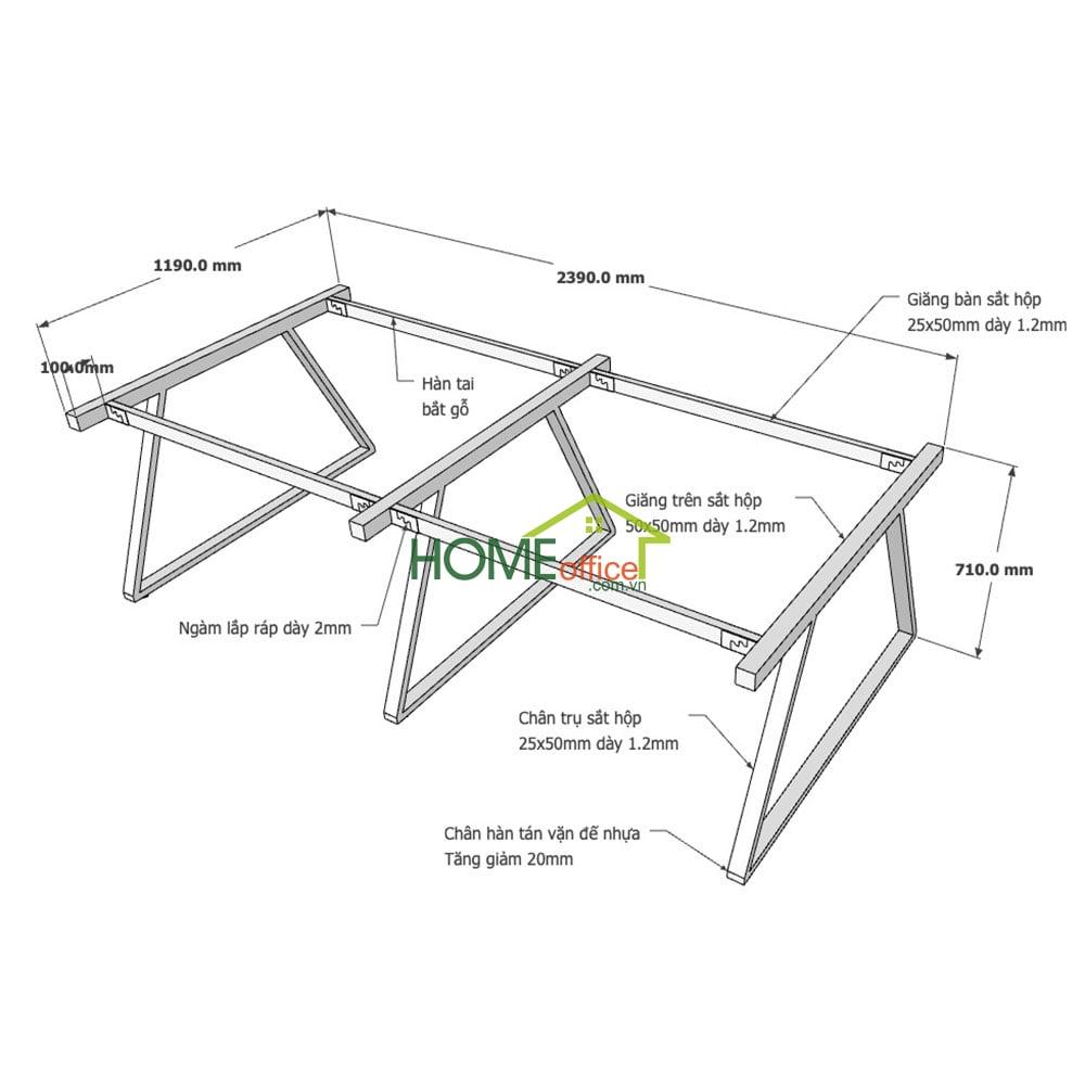 Kích thước chân sắt lắp ráp cho bàn cụm 4 hệ Trapeze 2