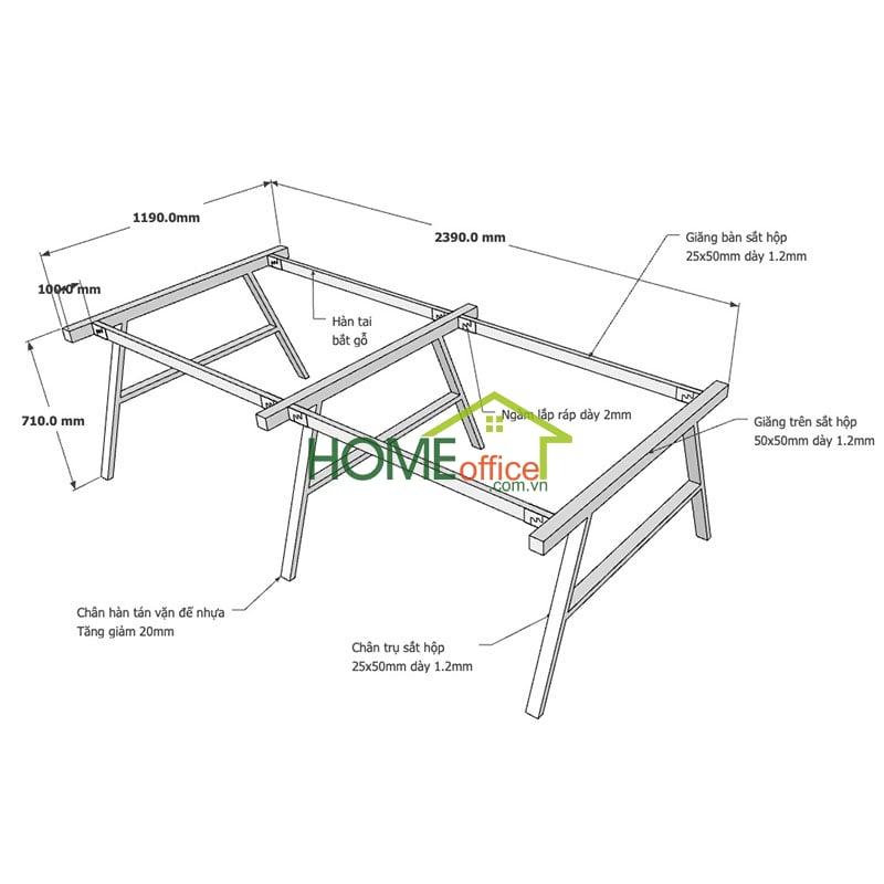 Kích thước chân sắt lắp ráp cho bàn cụm 4 240x120x75cm
