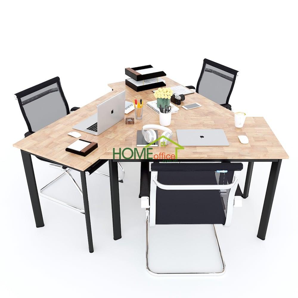 bàn cụm 3 gỗ cao su hệ bàn lego 2