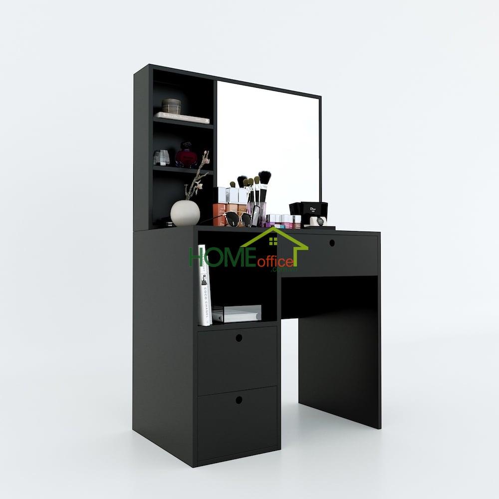 bàn trang điểm gỗ cao su màu đen