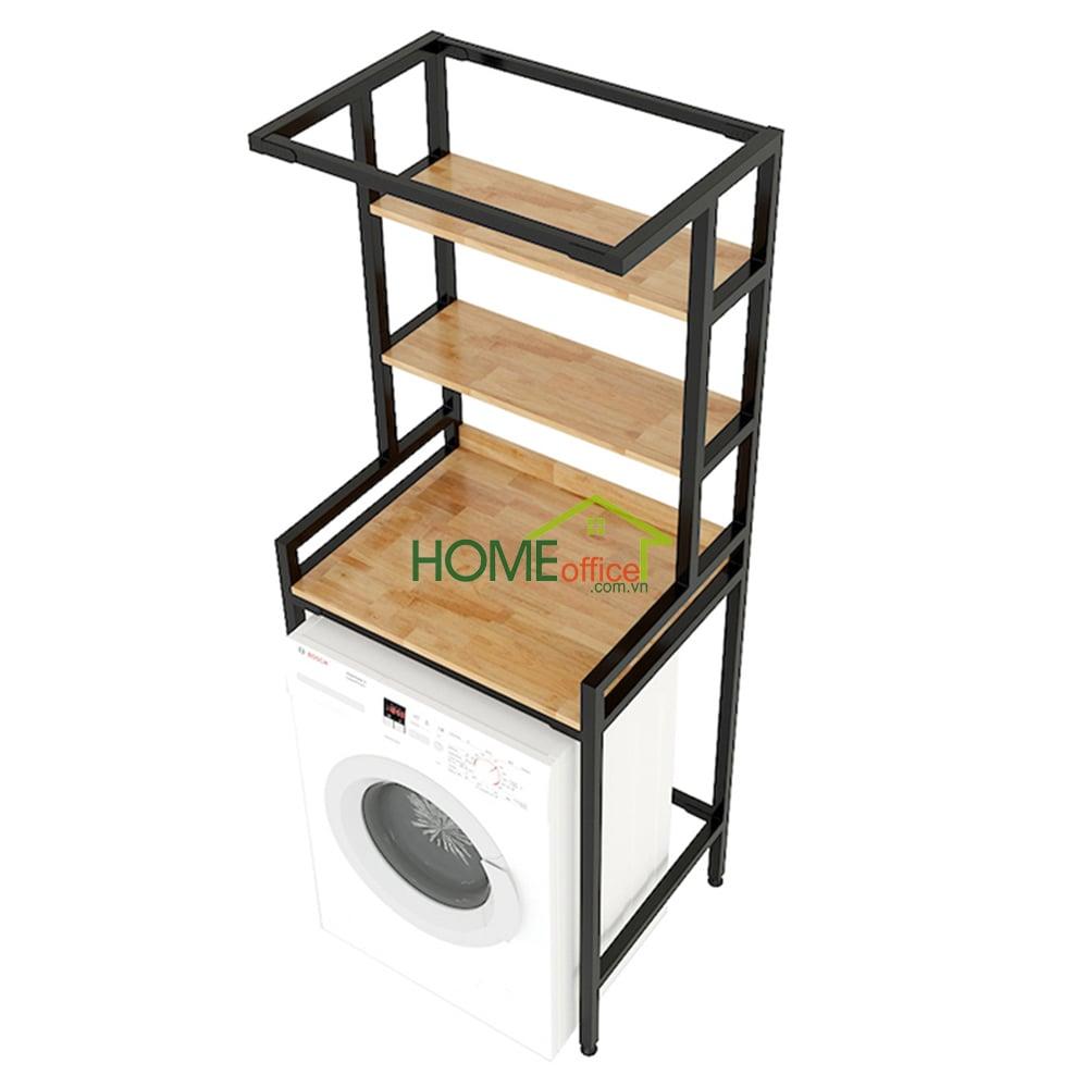 Kệ máy giặt 3 tầng gỗ cao su khung sắt lắp ráp