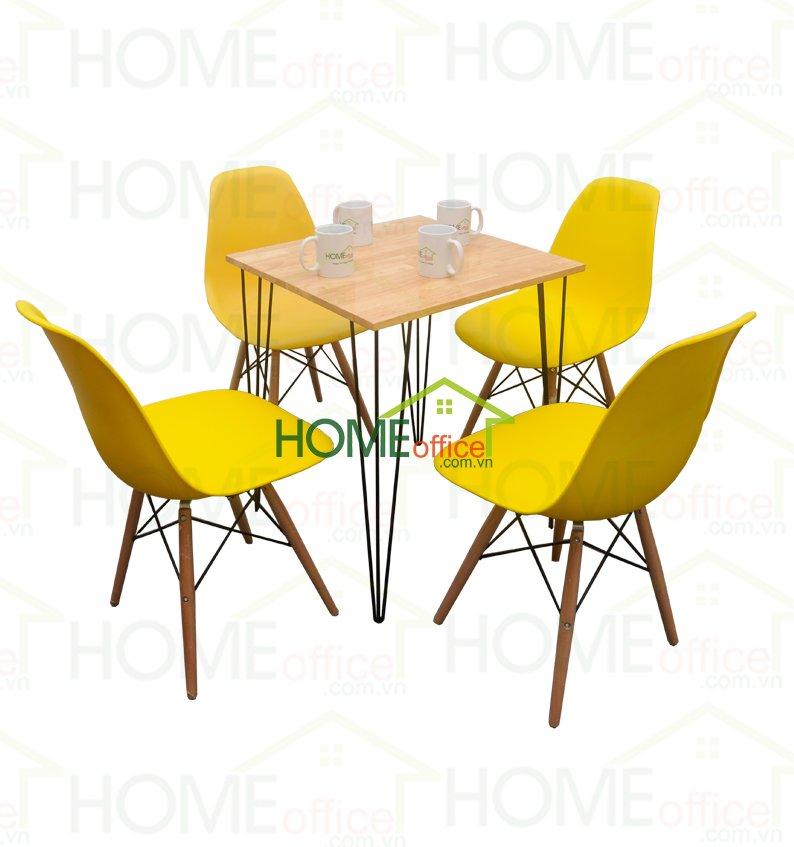 bộ bàn ghế cafe mặt gỗ vuông
