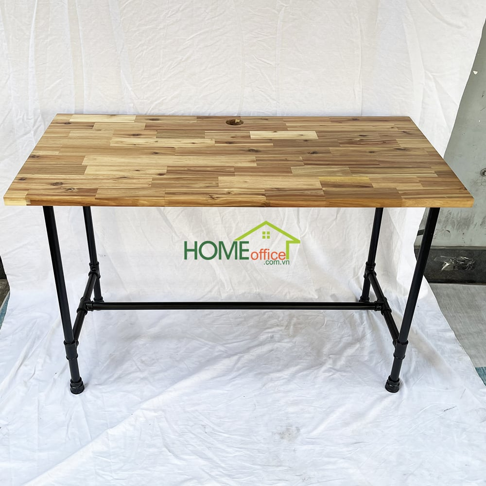 bàn làm việc ống nước mặt bàn gỗ tràm