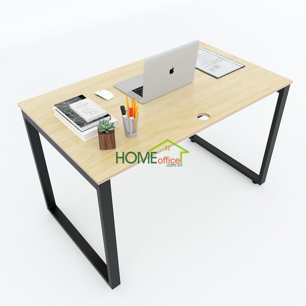 bàn làm việc 120x70cm mặt gỗ chân sắt