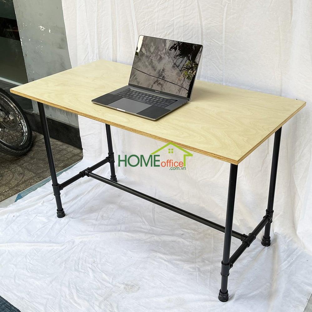 bàn làm việc gỗ plywood chân ống nước