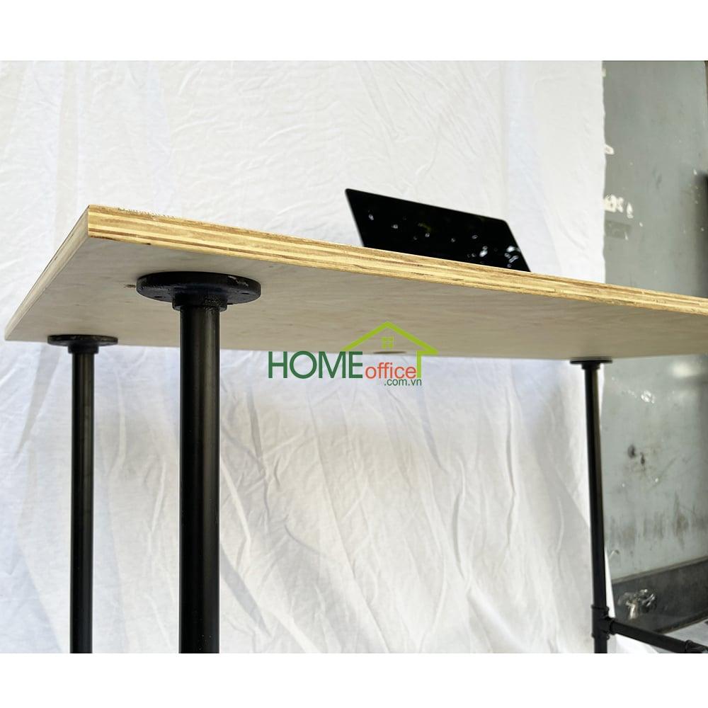 bàn làm việc 120x60cm mặt bàn gỗ plywood chân sắt ống nước