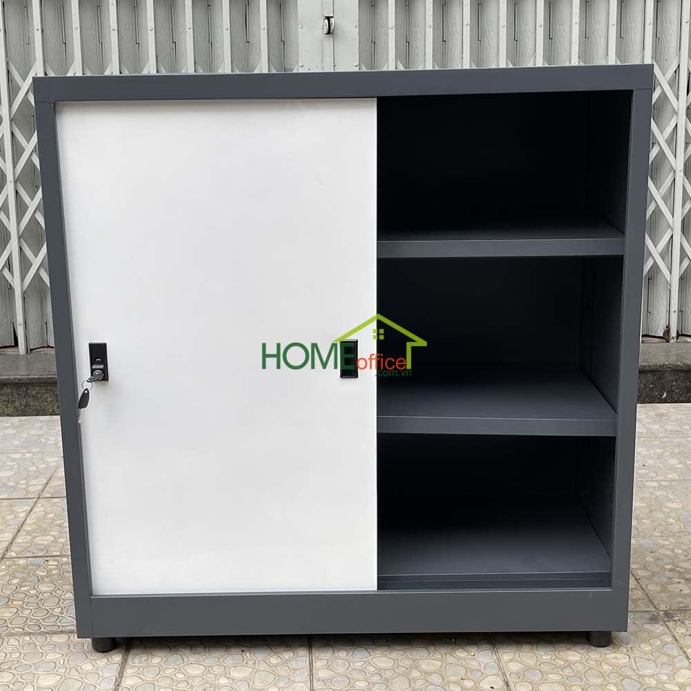 tủ sắt sơn tĩnh điện cao cấp màu xám phối trắng