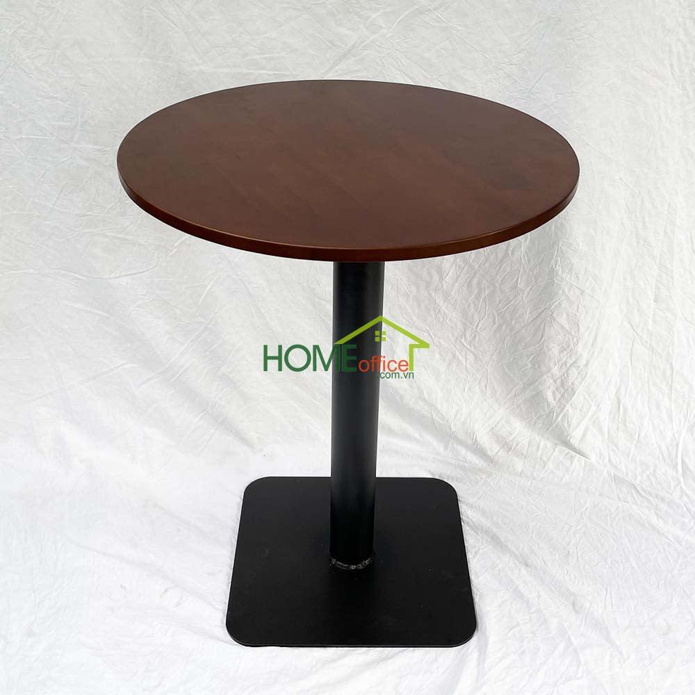 bàn cafe tròn gỗ chân sắt gỗ cao su