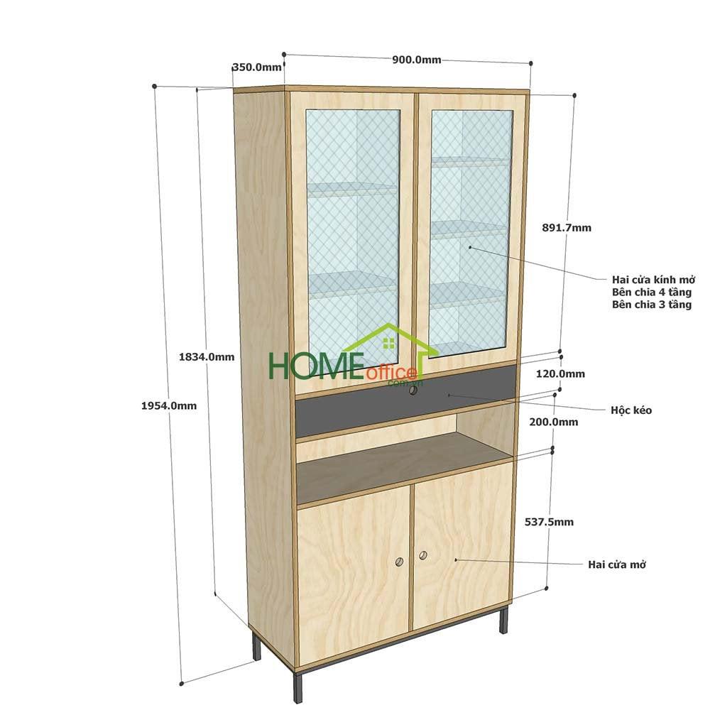 Kích thước chi tiết tủ gỗ trang trí