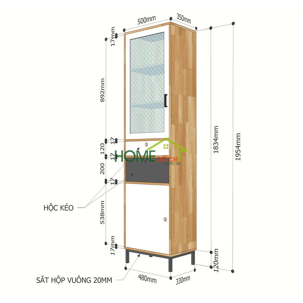 Kích thước tủ trưng bày, tủ gỗ cửa kính KTB68092