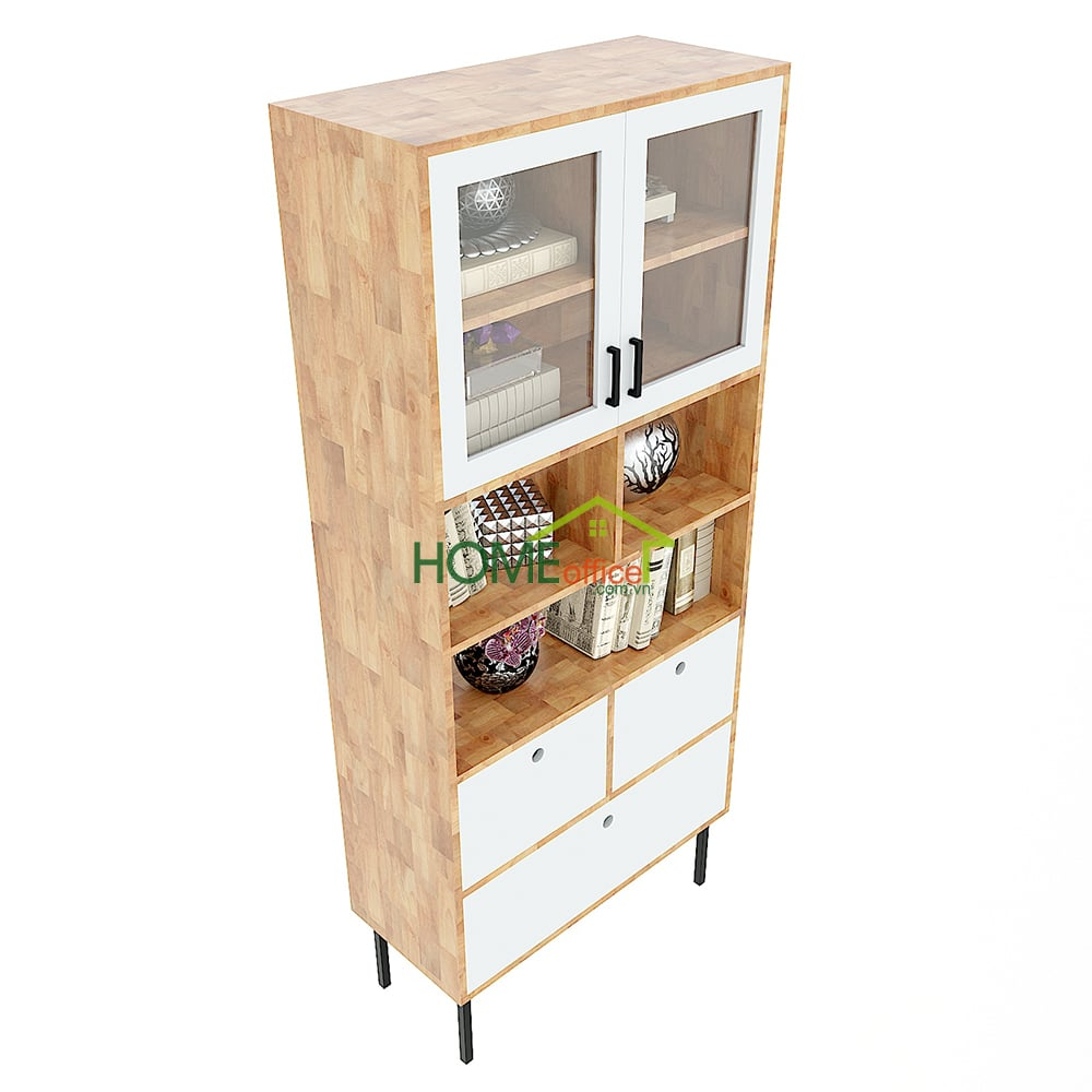 Tủ sách, tủ trưng bày nhiều ngăn gỗ cao su