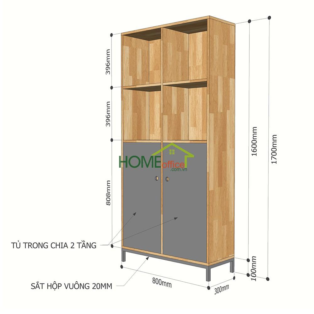 Kích thước tủ kệ sách gỗ