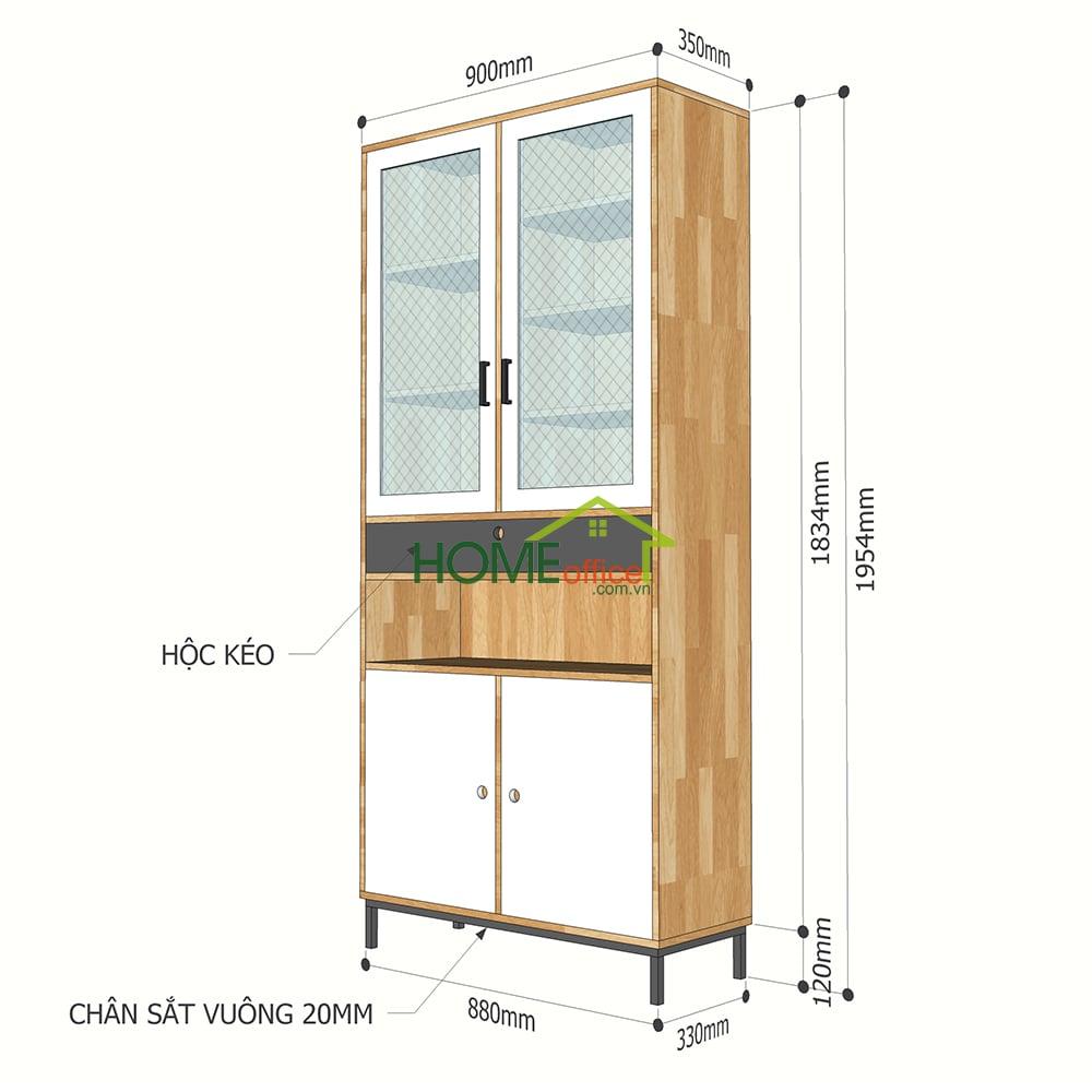 Tủ trưng bày cửa kính gỗ cao su