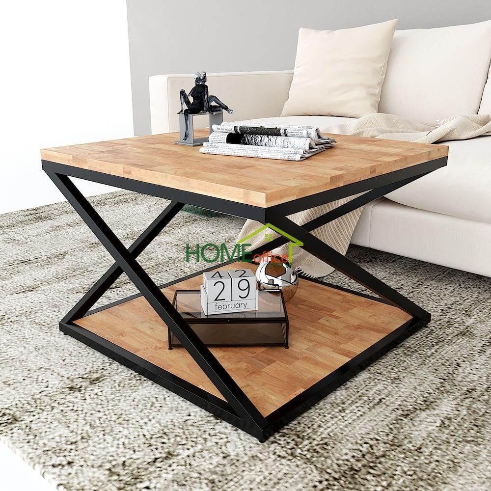 bàn sofa phòng khách hiện đại mặt gỗ khung sắt