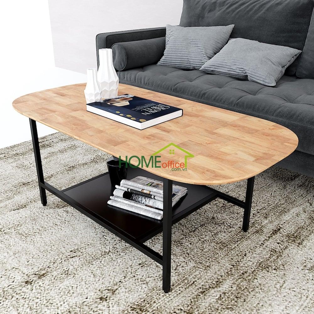bàn sofa 2 tầng mặt gỗ khung sắt