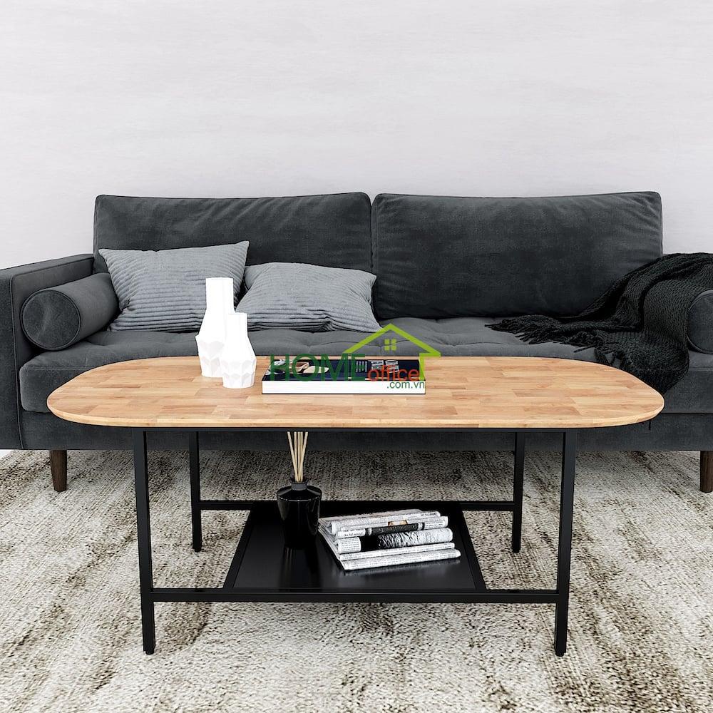 bàn sofa 2 tầng mặt bàn hình bầu dục