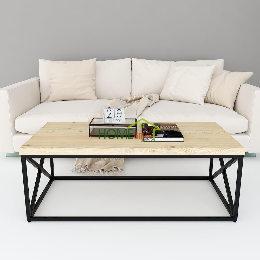 bàn sofa mặt gỗ thông khung sắt vuông