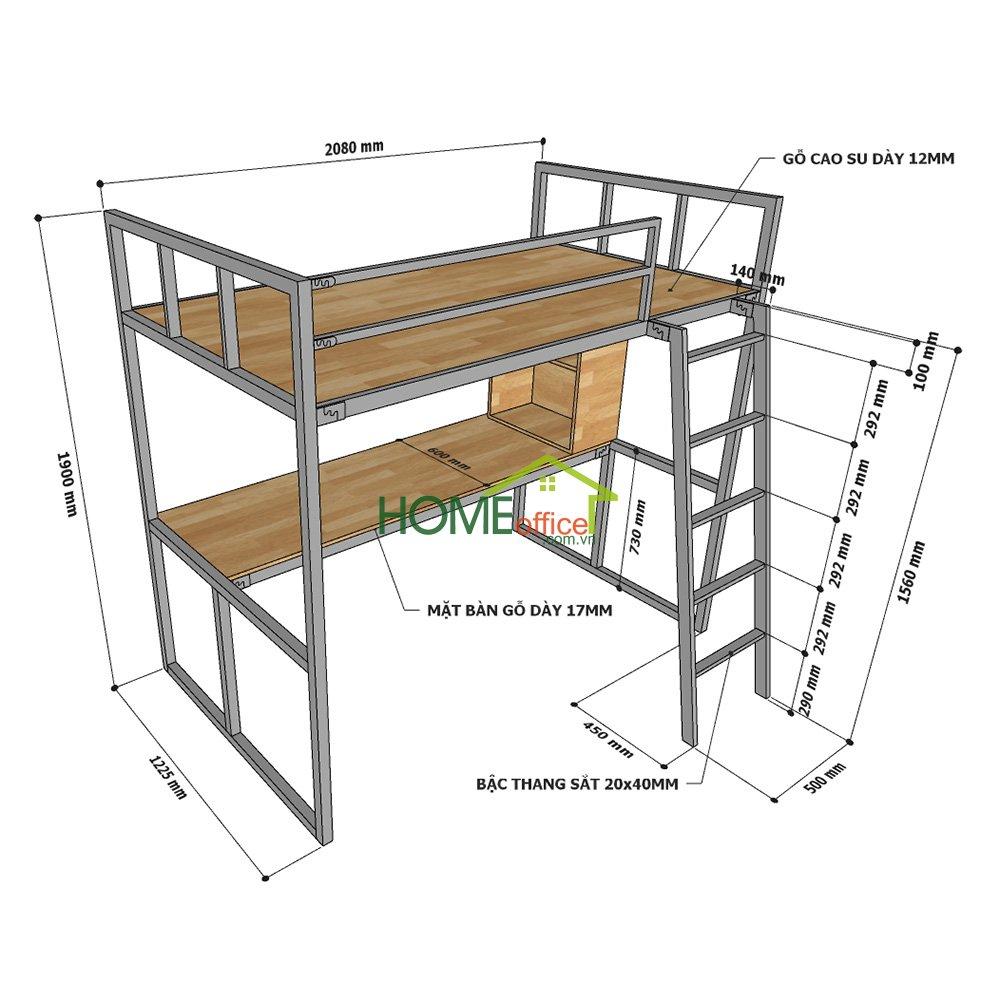 Kích thước giường ngủ kết hợp bàn học GT008