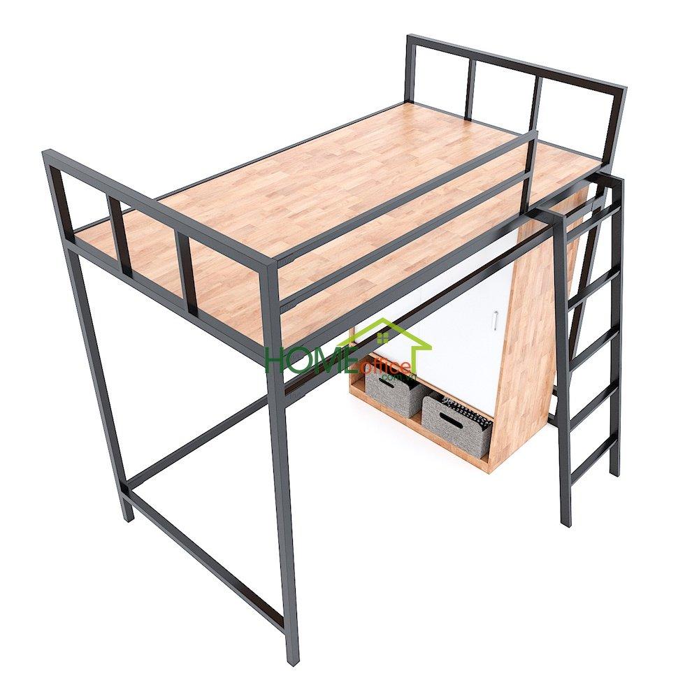 giường kết hợp tủ để đồ gỗ khung sắt
