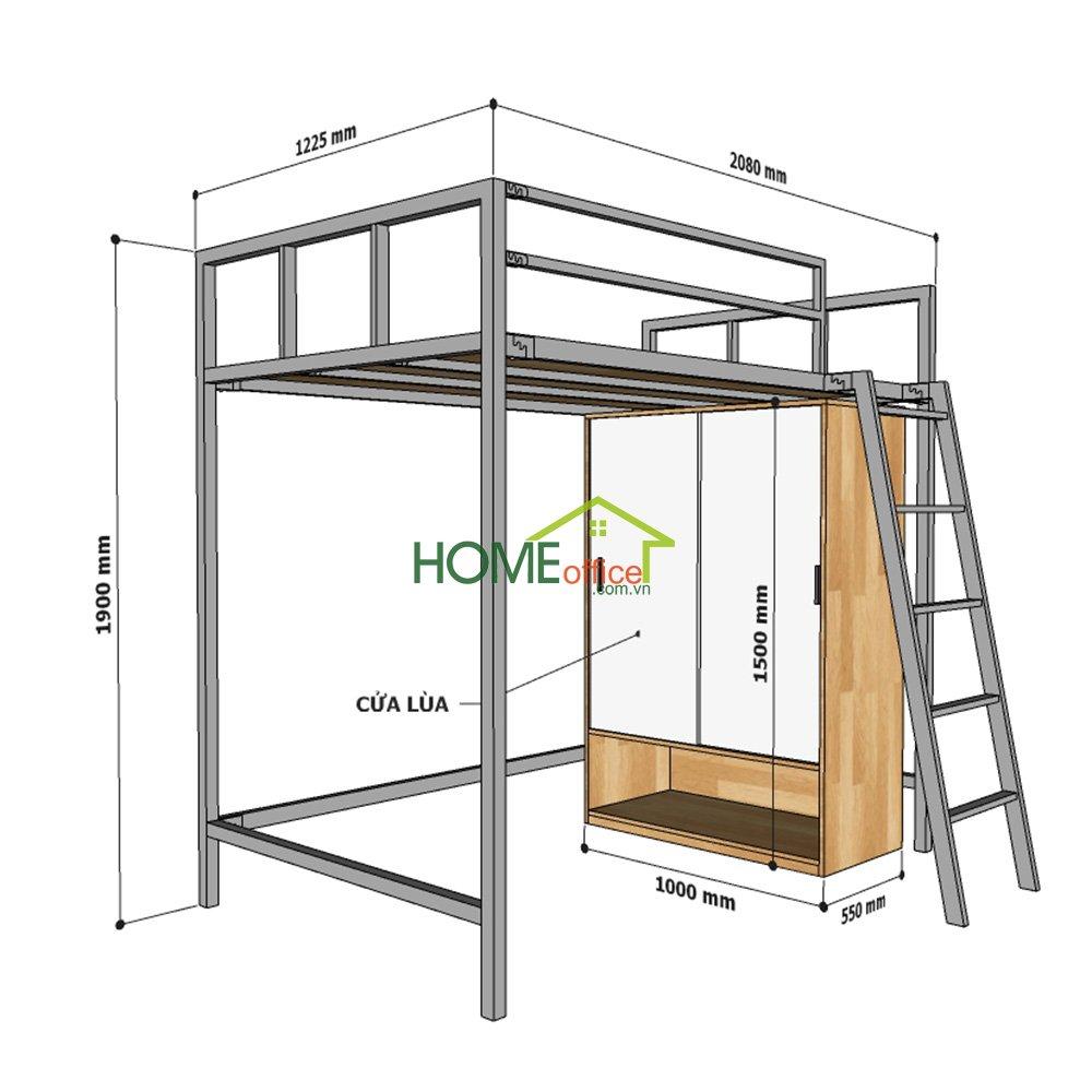 Kích thước giường tầng kết hợp tủ quần áo GT009