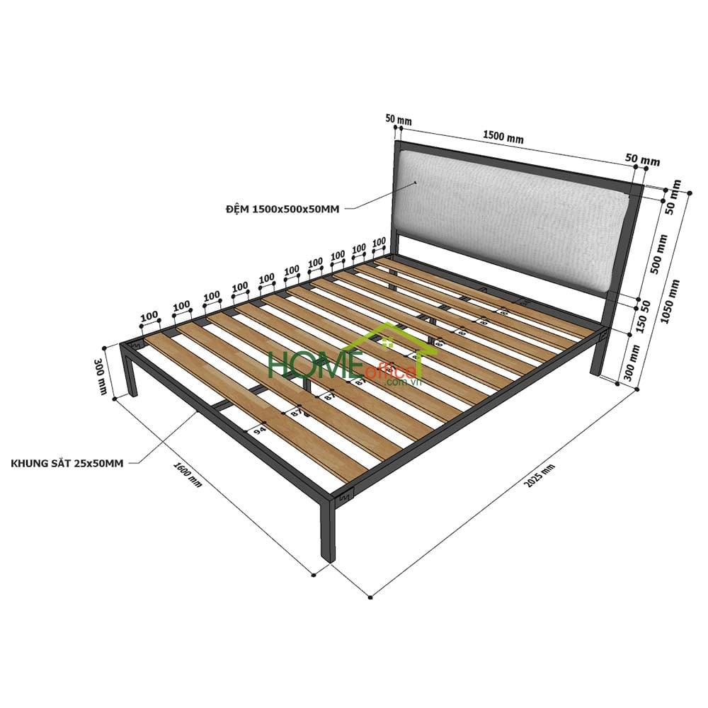 Giường ngủ đôi 160x200cm gỗ cao su khung sắt