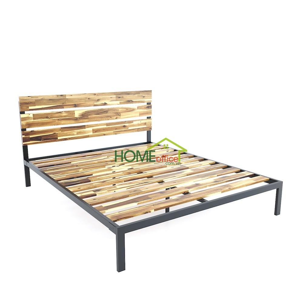 Giường ngủ đôi gỗ tràm khung sắt