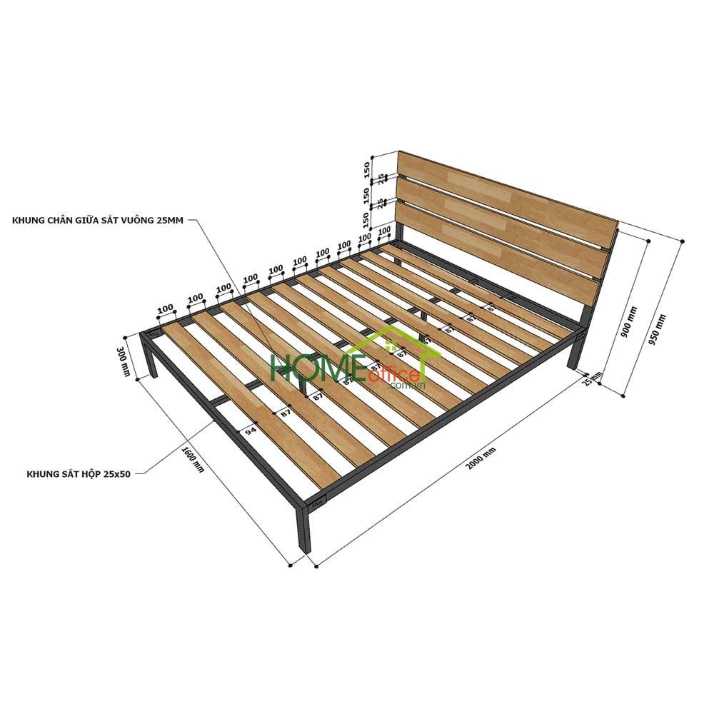 Kích thước giường ngủ đôi gỗ tràm GN68033