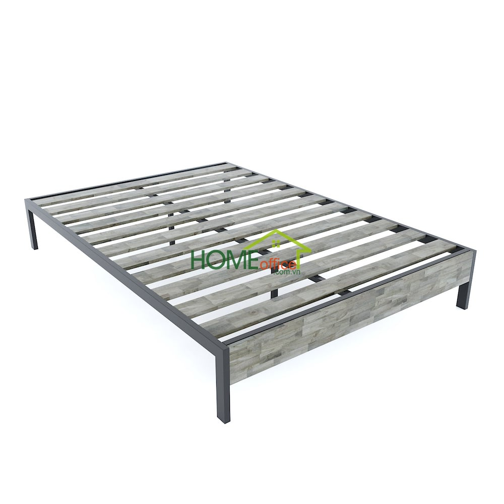 giường ngủ đôi gỗ tự nhiên khung sắt
