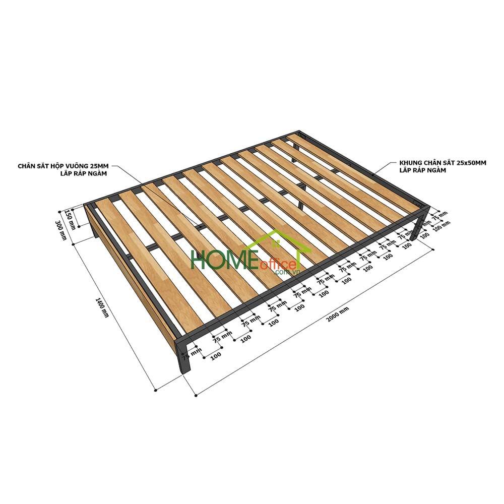 Chi tiết kích thước giường ngủ đôi GN68034