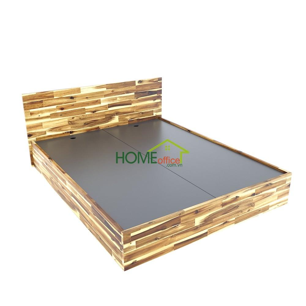 Giường ngủ 160x200cm gỗ tràm màu tự nhiên