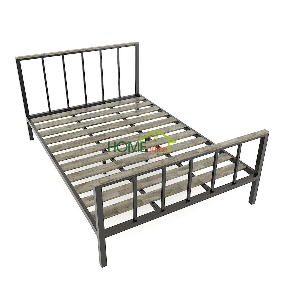 Giường ngủ 140x200cm gỗ cao su khung sắt