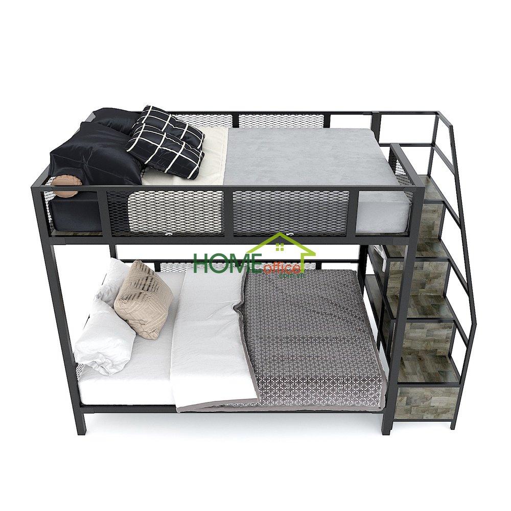 giường tầng kết hợp kệ trang trí